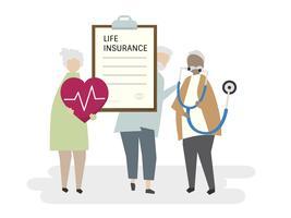 Illustratie van hogere volwassen levensverzekering