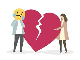People suffering from heartbreak and sadness vector