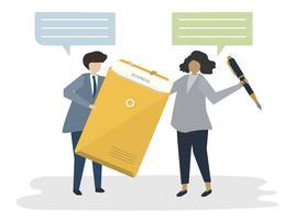 Illustration av människor avatar affärsavtal koncept