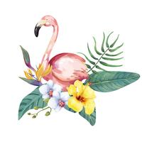 Hand drawn flamingo bird with tropical flowers