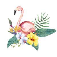 Uccello di fenicottero disegnato a mano con fiori tropicali
