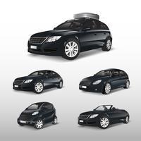 Conjunto de vários modelos de vetores de carros pretos