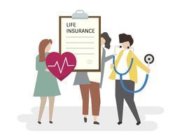 Ilustração de pessoas com um seguro de vida