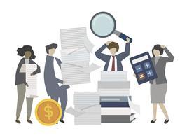 Pessoas negócio, trabalhando, ligado, imposto, ilustração