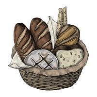 Ilustração, de, um, cesta pão