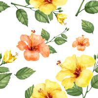 Hand drawn hibiscus flowers print vector