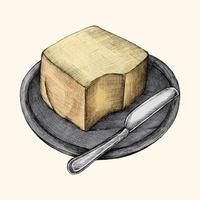 Illustratie van een plaat van boter