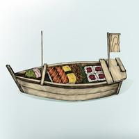 Ilustração, de, prato japonês
