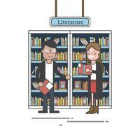 Paar durch den Bücherregal-Vektor