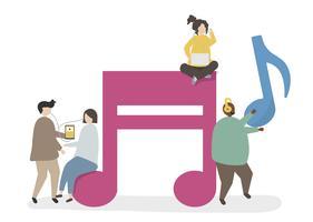 Illustration av tecken och musikanteckningar