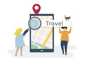 Illustratie van karakters met reizen en technologie concept
