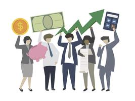 Business people holding investment growth icons