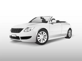 Weißes konvertierbares Auto getrennt auf weißem Vektor