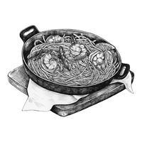 Prato de marinara de espaguete desenhados à mão