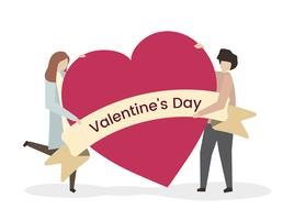 Ilustración de una pareja en el día de san valentín
