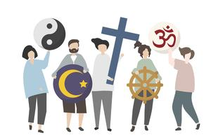 People holding diverse religious symbol illustration