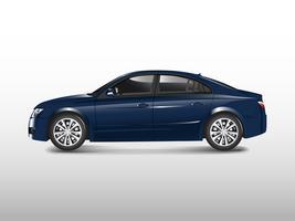 Carro sedan azul isolado no branco vector