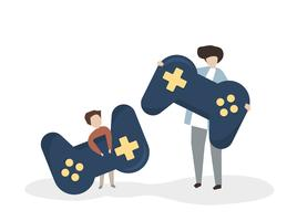 Illustration of people with a joystick