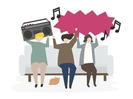 Grupo de amigos ilustrados ouvindo música