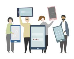 Diversas pessoas segurando ilustração de smartphones
