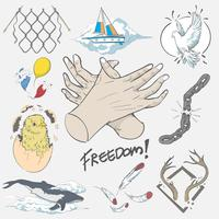 Hand drawing illustration of freedom concept