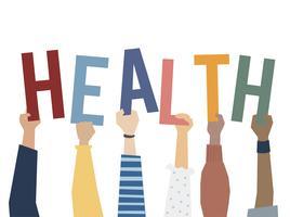 Illustrazione delle mani che tengono la parola salute