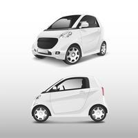 Vetor de carro híbrido compacto branco
