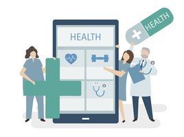 Illustration av personer med hälsovård