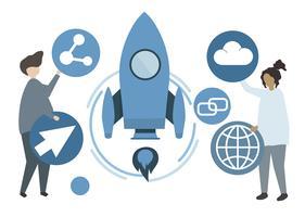 Ilustración de personajes y concepto de tecnología.