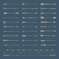 Set samling av guldpilar ikoner vektor illustration på blå bakgrund