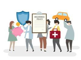 Illustration of various insurance policies
