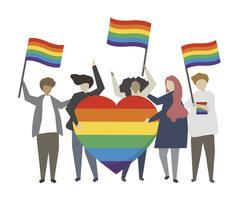 Gens avec illustration de concept drapeau fierté