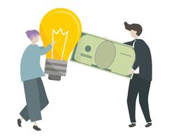 Illustration of characters trading money with ideas