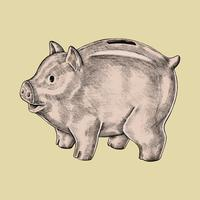 Handgetekende piggy bank illustratie