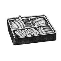 Dibujado a mano sushi comida japonesa