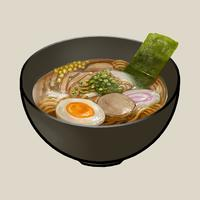 Bowl of Japanese ramen illustration