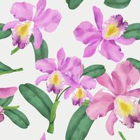 Mão desenhada padrão de flor de orquídea