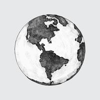 Hand-drawn globe illustration