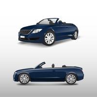 Blaues konvertierbares Auto getrennt auf weißem Vektor