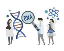 Doctors holding DNA gene concept illustration
