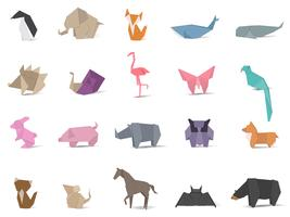 Ensemble d'animaux en origami