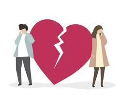 Par, com, coração partido, ilustração