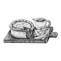 Torta de carne picada desenhada à mão
