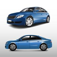 Blue sedan car isolated on white vector