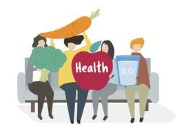 Illustration av människor med en hälsosam livsstil