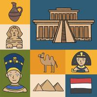 Set av antika egyptiska symboler