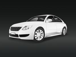 White sedan car in a black background vector