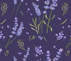 Hand getekend lavendel bloemenpatroon