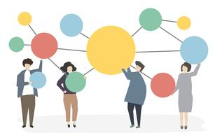 People connected and networking vector