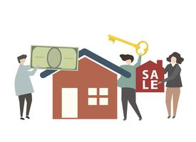 Family purchasing a new home illustration